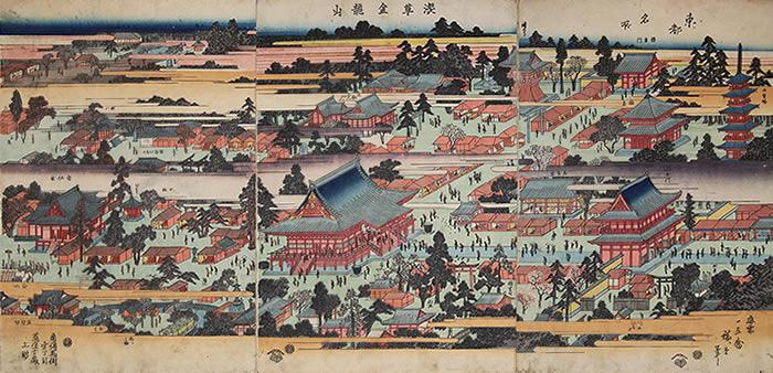 「東都名所」に描かれた浅草寺境内