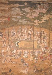 涅槃図。頭を北に向けて涅槃に入るお釈迦さまのまわりに沙毘双樹、諸菩薩、羅漢、動物などが描かれる。