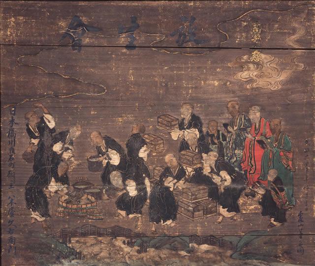放生会の様子を示す、文政6年(1823)奉納の絵馬。