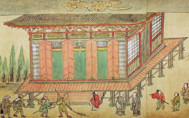 写真:「応永縁起」に描かれた創建期の本堂